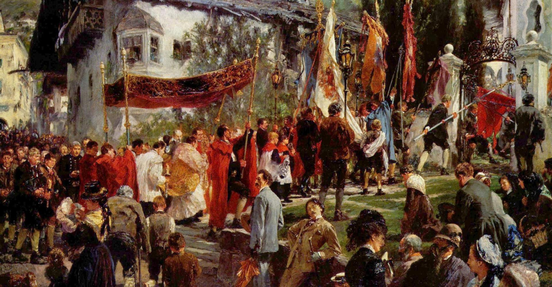 Adolf von Menzel: Fronleichnamsprozession in Hofgastein (1880) – Neue Pinakothek, München.