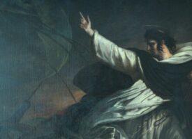 Ary Sheffer: Thomas von Aquin predigt Gottvertrauen während eines Sturms (1823) – Petit Palais, Paris