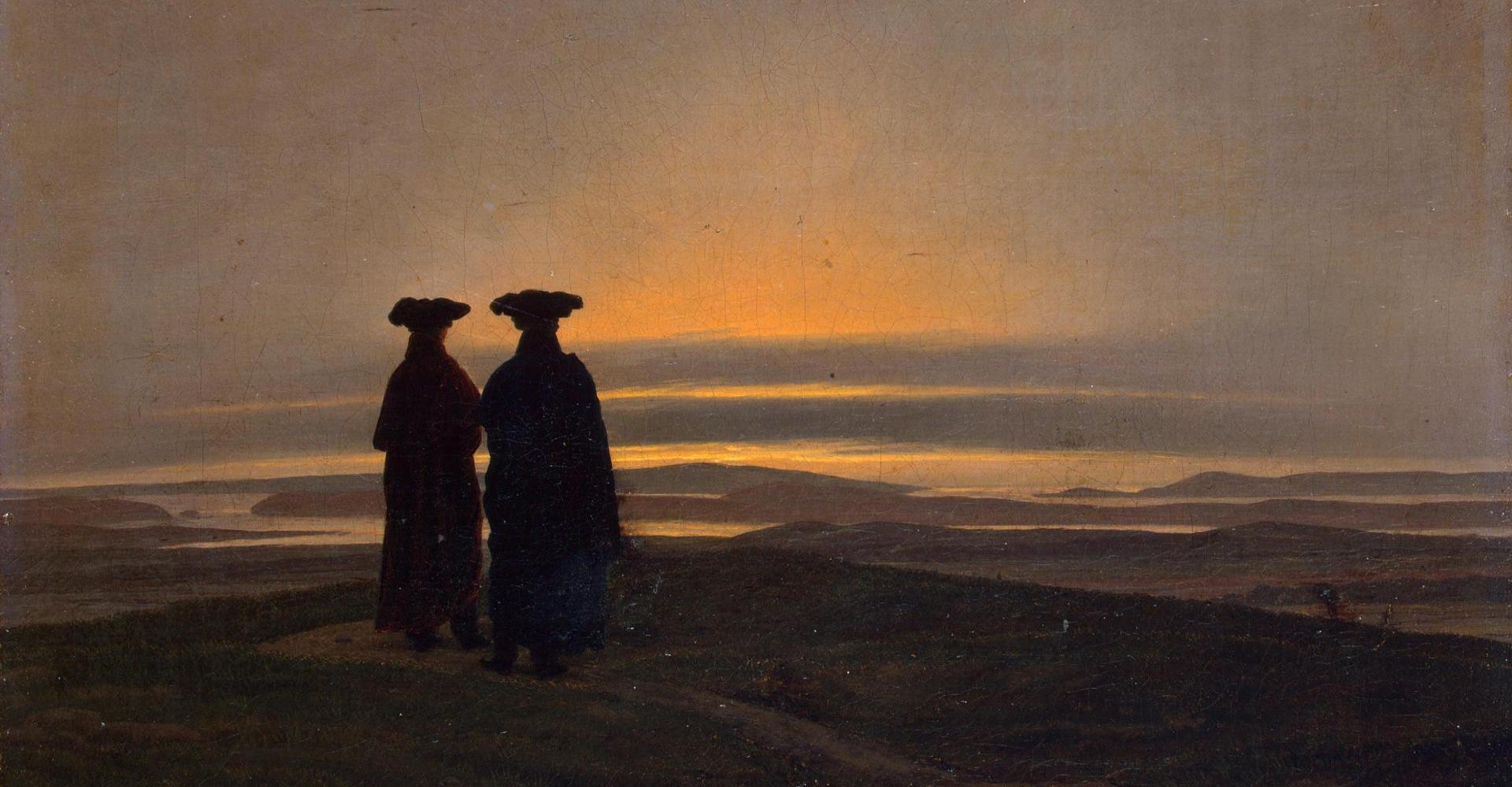 Caspar David Friedrich: Sonnenuntergang (Brüder) – Eremitage, Sankt Petersburg.