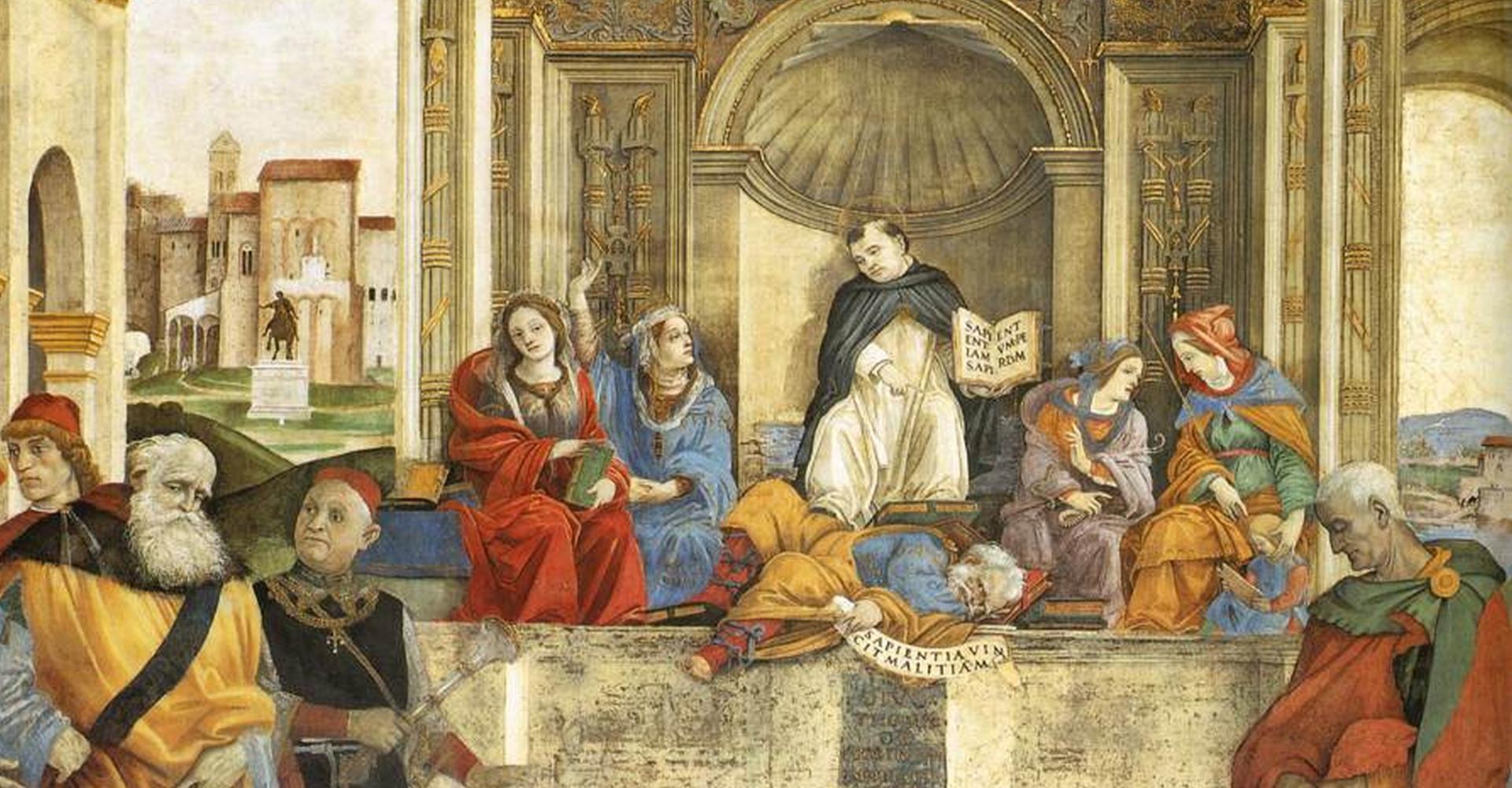 Filippino Lippi: Triumph des hl. Thomas von Aquin über die Ketzer – Fresko in der Carafa-Kapelle (1489–1491) in Santa Maria sopra Minerva, Rom