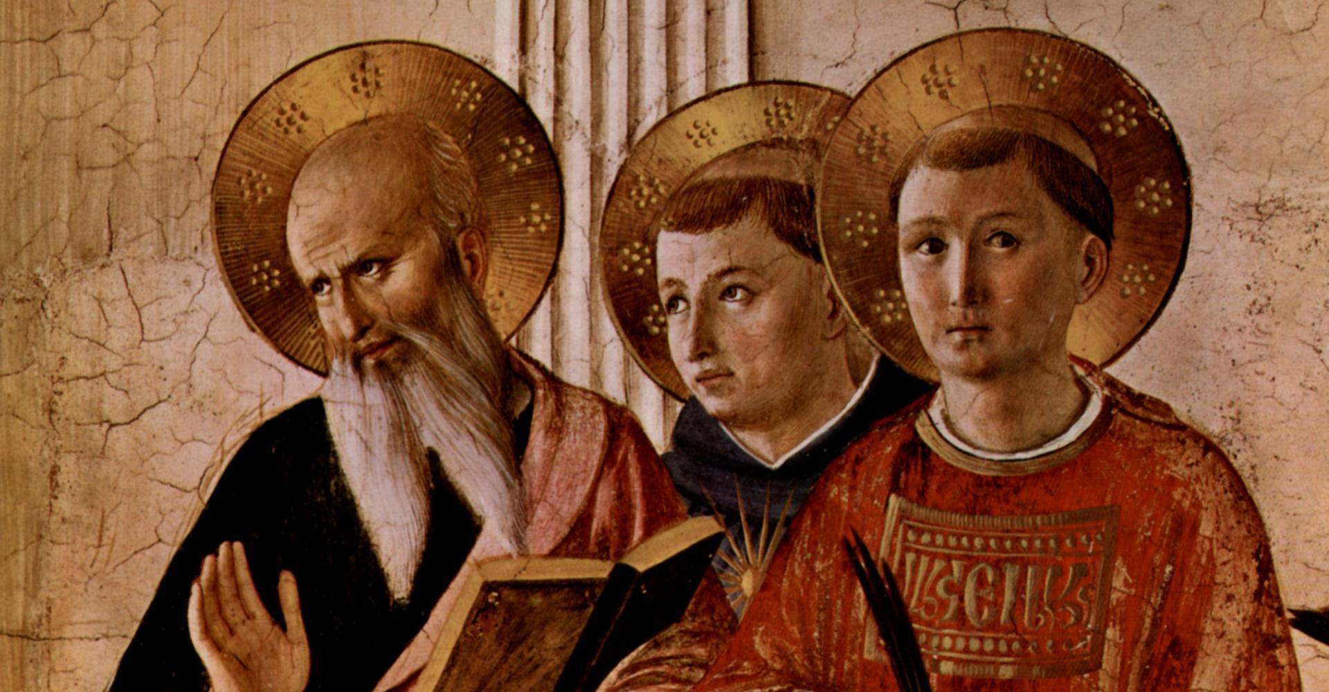 Fra Angelico: Johannes (der Evangelist), Thomas von Aquin, Laurentius (der Märtyrer) – Freskendetail im Dominikanerkloster San Marco Florenz (um 1437–1446) – Museo di San Marco, Florenz