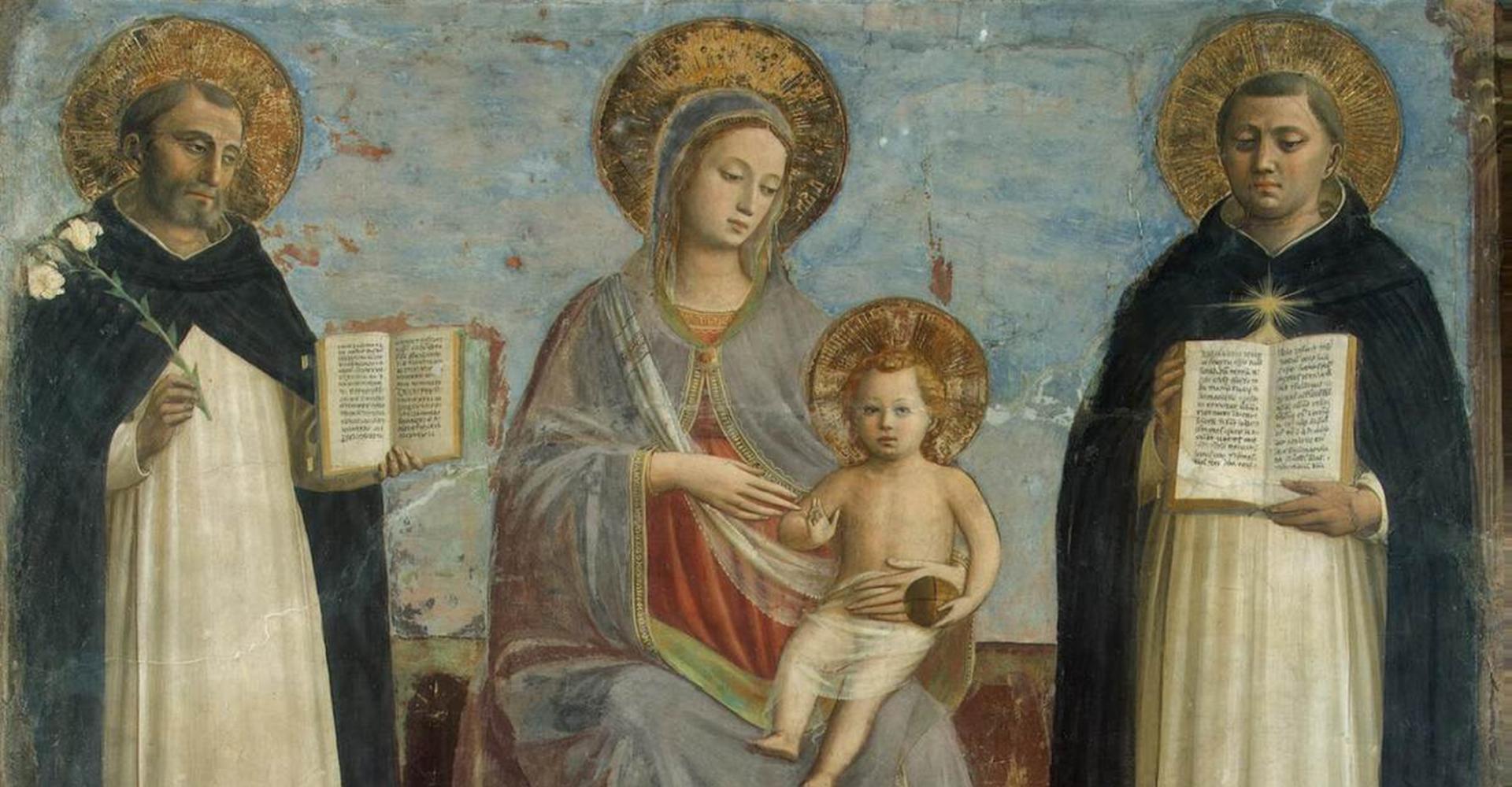Fra Angelico: Madonna mit Kind zwischen Dominikus und Thomas von Aquin (Fresco 1424–1430) – Eremitage, St. Petersburg