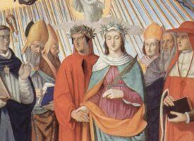 Philipp Veit: Dante und Beatrice zwischen Thomas von Aquin, Albertus Magnus, Petrus Lombardus und Siger von Brabant – Fresko im Dante-Saal des Casino Massimo in Rom