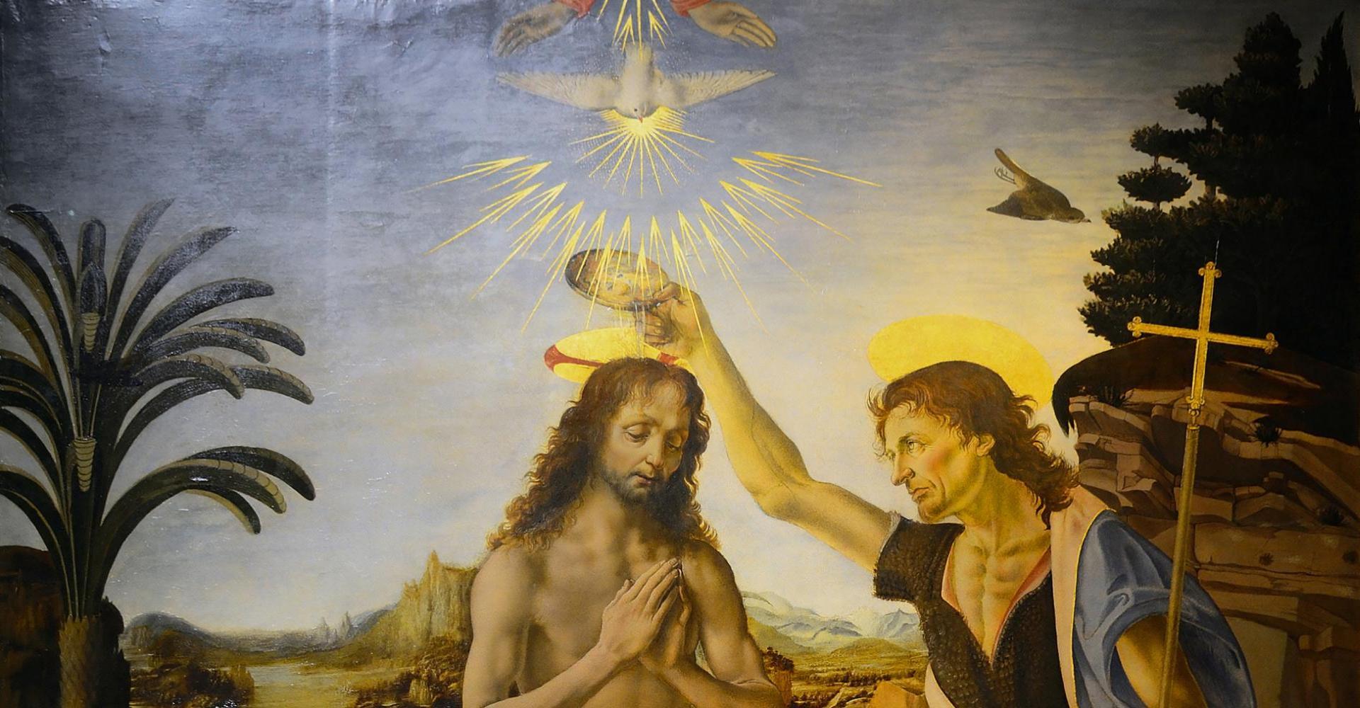 Andrea Verrocchio und Leonardo da Vinci: Die Taufe Christi – Uffizien, Florenz