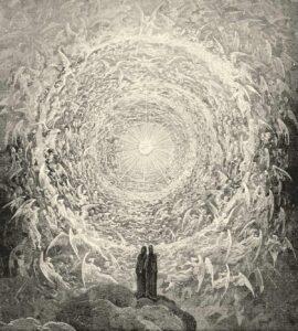 Gustave Doré: Dante und Beatrice vor dem Empyreum – Holzstich zu Dantes »Divina Commedia, Paradiso, Canto XXXI«