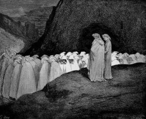 Gustave Doré: Zug der Heuchler – Holzstich zu Dantes »Commedia, Inferno, Canto XXIII«